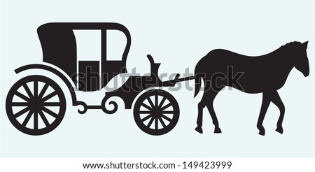 Vintage carriage and horse-drawn isolated on blue background - stock vector