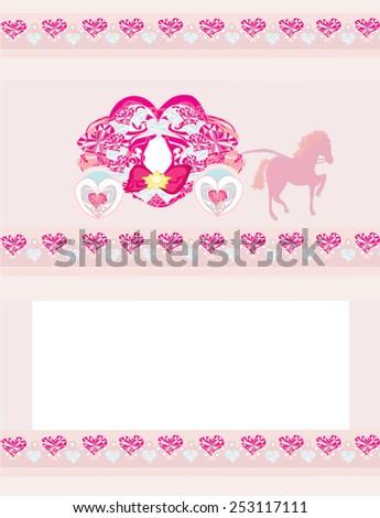 vintage carriage invitation  - stock vector