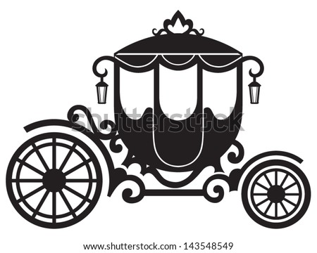 Vintage carriage isolated on white background - stock vector