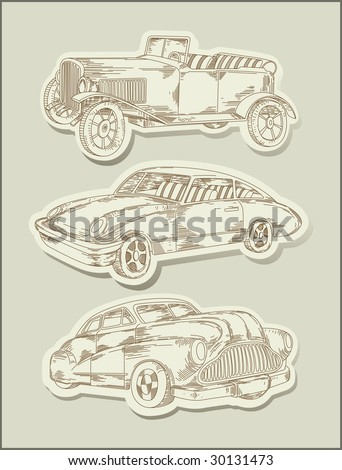Vintage Cars Line Drawing Objects Vector