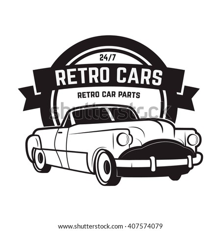 Vintage cars sale. Retro car icon. Car repair. Design element for logo, label, emblem. Vector illustration. - stock vector