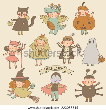 Vintage cartoon children in Halloween costumes: Princess, ghost, pumpkin, spider, dragon, devil, witch, vampire, cat - stock vector