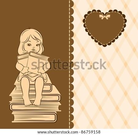 Vintage cartoon little girl with book - stock vector