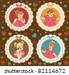 Vintage cartoon little girls on the ornate background. Vector - stock vector