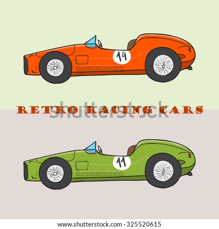 Vintage cartoon racing car. Vector doodle illustration - stock vector