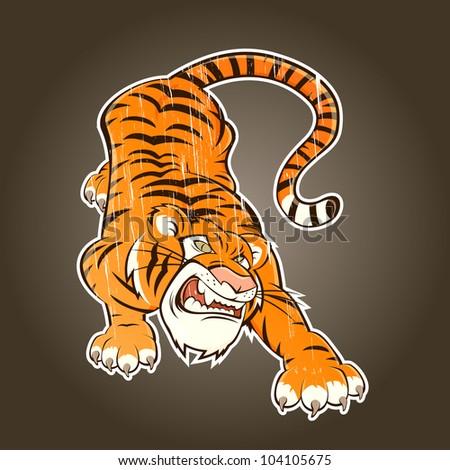 vintage cartoon tiger - stock vector
