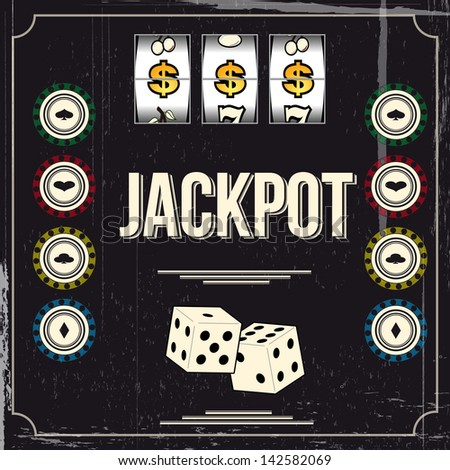 Vintage casino poster - stock vector