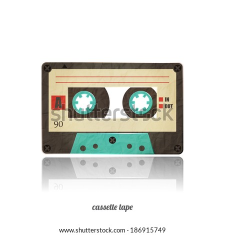 vintage cassette tape icon isolated on white background - stock vector