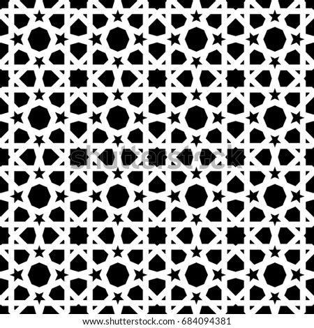 vintage ceramic mosaic tile seamless pattern with abstract black and white geometric shape decoration entwined