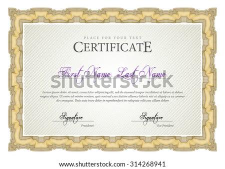 Vintage Certificate Award Background Gift Voucher Stock Vector