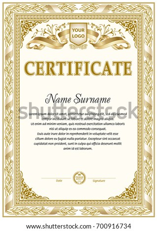 Vintage Certificate Blank Template Monochrome Color Stock Vector