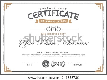 vintage certificate  template. smart,clean,hipster - stock vector