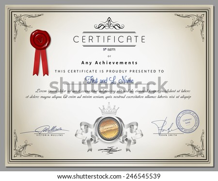 Vintage certificate template with detailed border and calligraphic elements on old paper with ribbon in vector - stock vector
