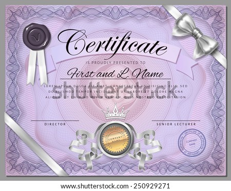 Vintage certificate template with detailed border and calligraphic elements on purple paper with safety watermarks in vector - stock vector