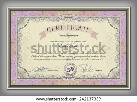 Vintage certificate template with detailed border and calligraphic elements on yellow paper with safety watermarks in vector - stock vector
