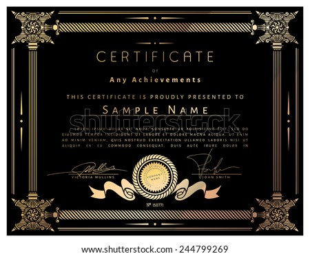 Vintage certificate template with detailed border and calligraphic golden elements on black paper with gold in vector - stock vector