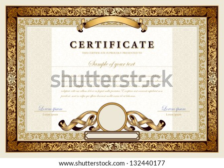 Vintage Certificate Gold Luxury Ornamental Frames Stock Vector ...