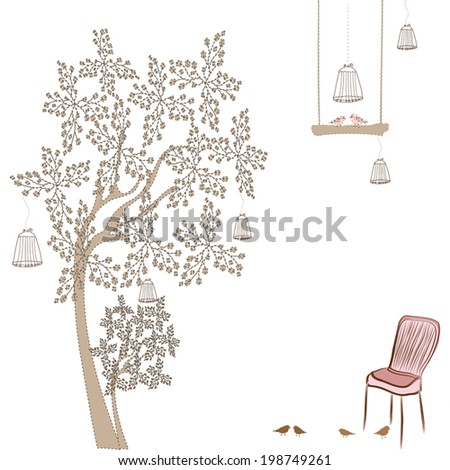 vintage chair and and the cage with a bird in the garden - stock vector