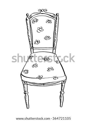 Vintage Chair Doodle Style Furniture Interior Design Elements Hand Drawn Ink Sketch