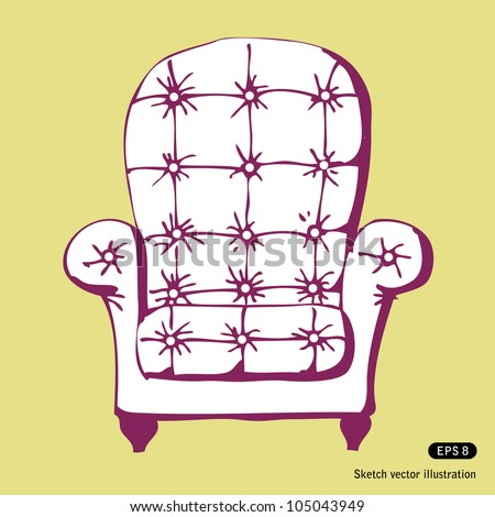 Vintage chair. Hand drawn sketch illustration isolated - stock vector