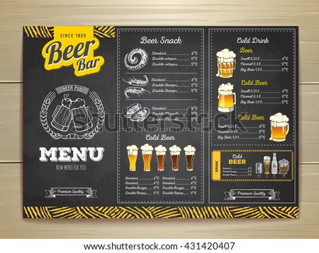 Vintage Chalk Drawing Beer Menu Design Stock Vector