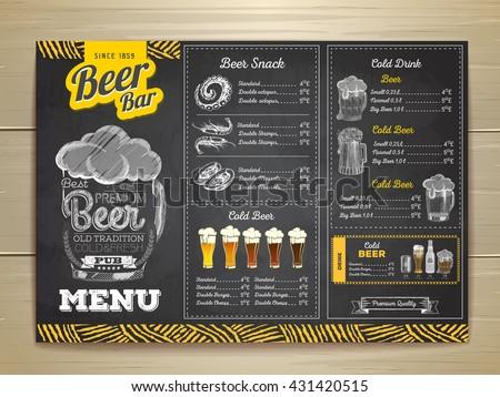 Vintage Chalk Drawing Beer Menu Design Vector 431420407 – Beer Menu
