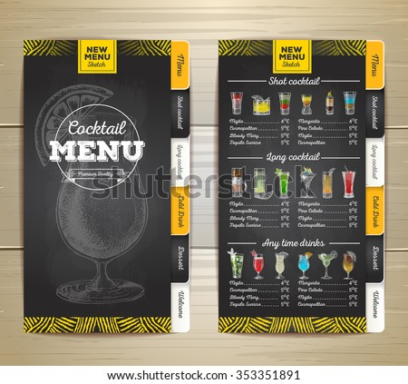 Vintage chalk drawing cocktail menu design. Corporate identity - stock vector