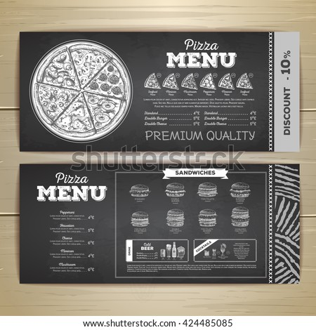 Vintage chalk drawing fast food menu design. Pizza sketch