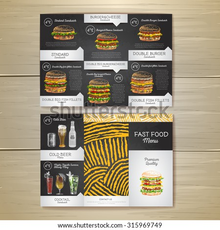 Vintage chalk drawing fast food menu. Sandwich sketch corporate identity - stock vector
