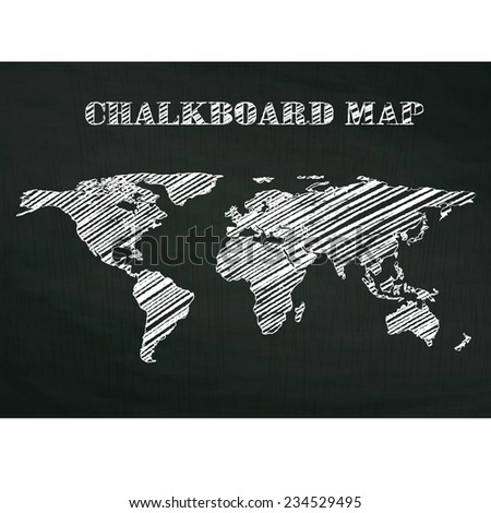 vintage chalkboard map on wood textured background, vector illustration. - stock vector