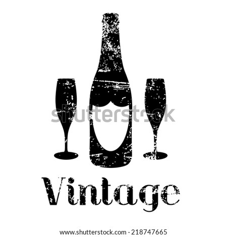 vintage champagne vector - stock vector