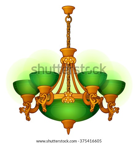 Vintage chandelier with green shades. Vector. - stock vector