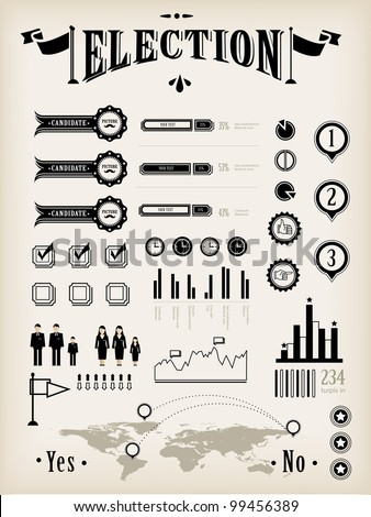 Vintage chart (infographic, icons) for election report - stock vector