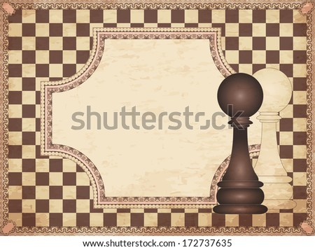Vintage chess card with two pawns, vector illustration - stock vector