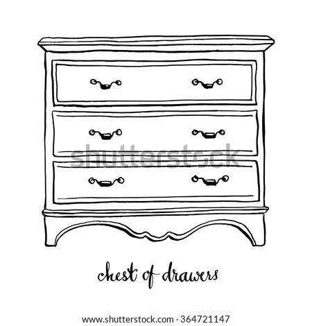 Vintage Chest Of Drawers Furniture Interior Design Elements Hand Drawn Ink Sketch