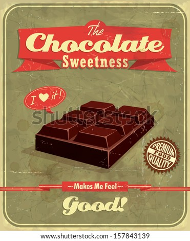 Vintage Chocolate  poster design - stock vector