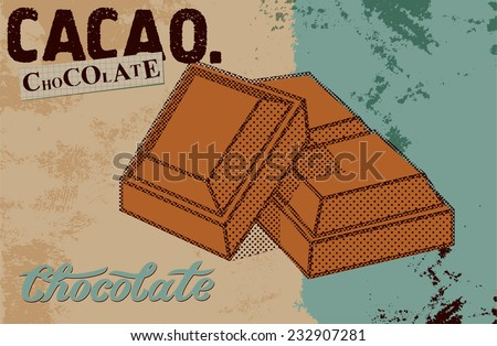 Vintage Chocolate poster design. Chocolate pieces. Vector illustration - stock vector