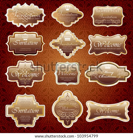 vintage chocolate shiny labels for invitation or other use - stock vector
