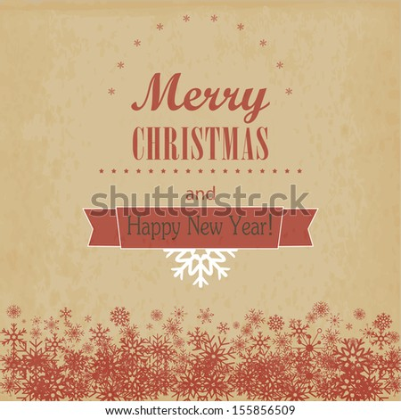 Vintage Christmas and Happy New Year card. Vector illustration - stock vector
