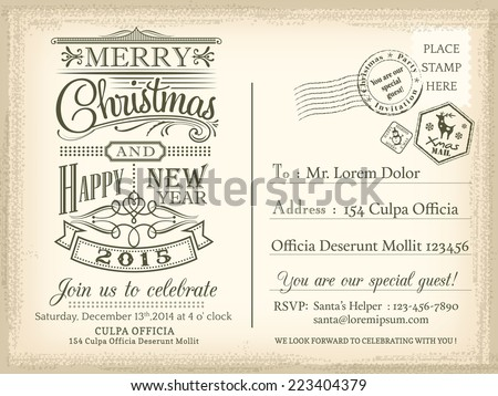 Vintage Christmas and Happy New year holiday postcard background vector for party invitation card - stock vector