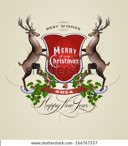 vintage christmas new year card stock vector 166767557 shutterstock