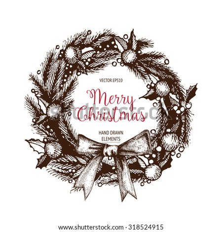 Vintage Christmas and new year decoration  with ink hand drawn elements. Vector holiday wreaths set with frames, ribbons,  borders.  - stock vector