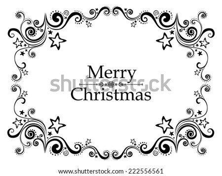 Vintage Christmas and New Year frame. Celebration background with snowflake and place for your text. Vector Illustration  - stock vector