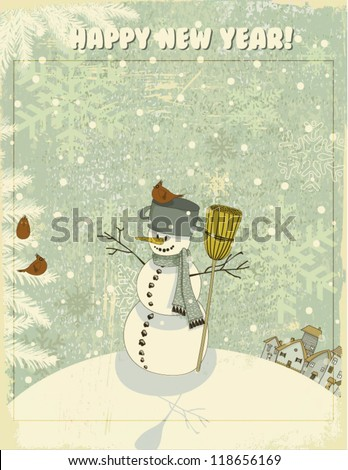 Vintage Christmas and New Year Greeting Card - Snowman on hill, against the snowy textured backdrop, with a pot and broom, cheerfully looking at red cardinals on snow-covered pine tree branches - stock vector