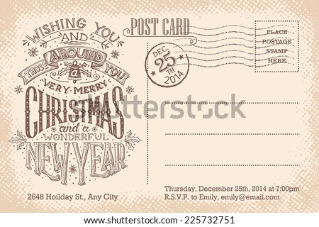 Vintage Christmas and New Year holiday party invitation postcard - stock vector