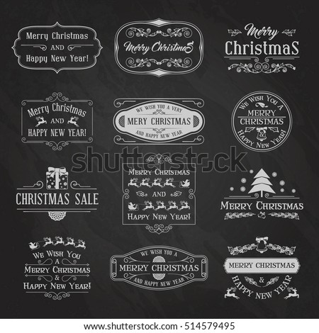 Vintage Christmas And New Year Labels and Badges Set. Typographic Background With Chalk Word Art On Blackboard. Vector Illustration