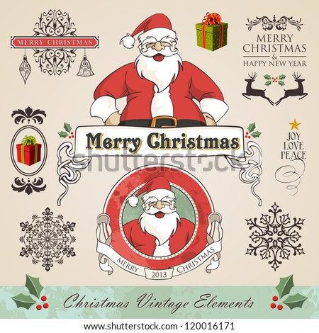 Vintage christmas and new year season elements sale set. Vector illustration layered for easy manipulation and custom coloring. - stock vector