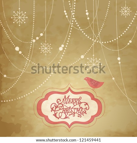 Vintage Christmas Background, christmas decorations, snowflakes and a bird - stock vector