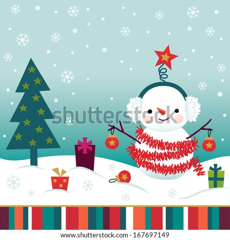 Vintage Christmas background design for greeting cards with cute snowman wearing red tinsel garland and baubles, and surrounded by gifts.  - stock vector