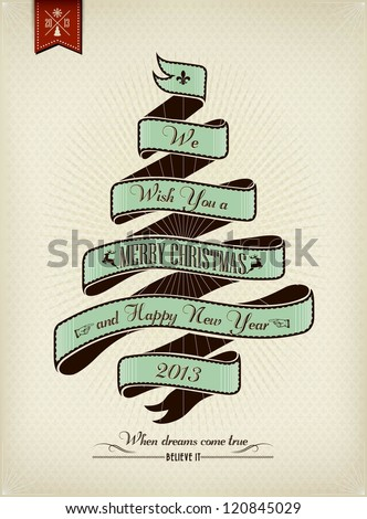 Vintage Christmas Background Flag With Typography - stock vector